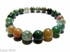 Genuine 8mm India Natural Multicolor Jade Beads Amulet Elastic Bracelet 7.5''