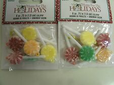 Lot of 12 Miniature Christmas Ornaments Sugared Candy Lollipops - 1.75""