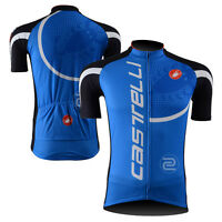 New Mens Cycling Jerseys Tops Polyester Road Bike Bicycle Jacket Sportswear Blue