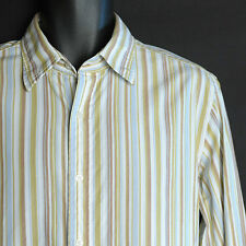 DKNY Men's Long Sleeve Shirt Size Large 100% Cotton Striped Button Front