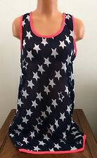 Womens Size XL Lucky & Coco Navy Star Swimsuit Cover Up Blue/White/Neon 800693