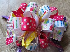 Birthday Girl Baloons Candles Dots Boutique Hairbow with or w/out Feather
