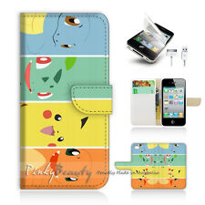 iPhone 4 4S Print Flip Wallet Case Cover! Pokemon Pikachu P0022