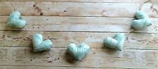 HANDMADE SHABBY CHIC COUNTRY  HANGING HEARTS GARLAND BUNTING TEAL MINT  FLOWER