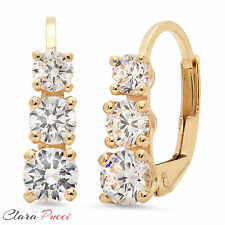 2.4CT 3 Stone Simulated Cut Earrings 14K Yellow Gold Past Present Future VVS1