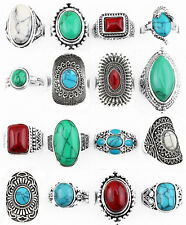 10 Pcs Wholesale Lot Fashion Jewelry Antique Silver Plated Mixed Turquoise Rings