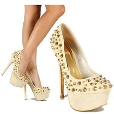 Alba Beige Round toe Spiked Pump Platform Stiletto Heels Women's shoes US sz.6.5