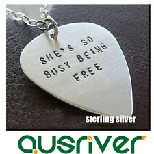 New Personalised Sterling Silver Necklace Engraved Guitar Pick Pendant Best Gift