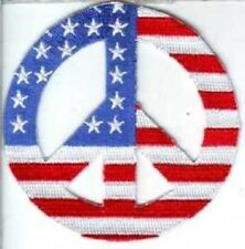 PEACE SIGN WITH US FLAG EMBROIDERED APPLIQUE iron on  BIKER PATCH