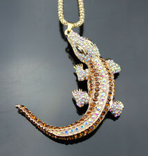 A198 Betsey Johnson Crystal Activity Lizard Pendant Sweater Chain Necklace