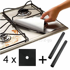4 x UNIVERSAL Teflon Gas Hob Black Protector & 2 x Heavy Duty Oven Cooker Liner