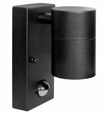 Black PIR Stainless Steel Single Outdoor Wall Light with Movement Sensor IP44