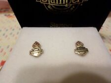 Vtg Stamper Harley Davidson Stud Black Hills Gold Earrings-Never Worn