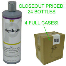 CLOSEOUT 4 CASES! 24 NEW PHYSIQUE 16 OZ BOTTLES 2 IN 1 HAIR SHAMPOO/CONDITIONER
