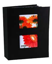 "Photo Album Pocket 200 Photos 4x6"" Holder Organizer Travel Family Memories Black"