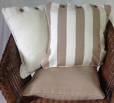 Beige Stripe Off White Cushion Covers X 3 Neutral Cotton Pillow Case Throw Sofa