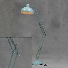 Large Sky Blue Desk Style Angle Floor Lamp With Grey Fabric Flex 190cm High