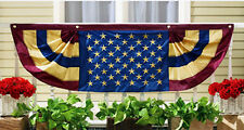 "VINTAGE USA AMERICAN FLAG BUNTING BANNER 60""x 18"" EMBROIDERED 4th of JULY DECOR"