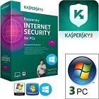 Kaspersky Internet Security 2016 1-ANNO x 3PC Aggiornamento o Nuova istalazione