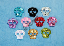 Small Satin Sequin Holloween Skull Appliques Embellishments Dolls x 50 Mix P