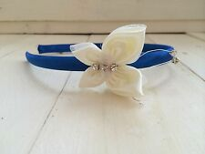 Royal Blue Headband Hairband Alice Band Ivory Butterfly Bridesmaid Flower Girl