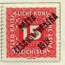 CZECHOSLOVAKIA;  1919 early Austria Optd. on Postage Due issue Mint hinged 15h.