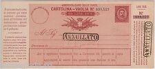 """55377 - ITALIA REGNO -  CARTOLINA VAGLIA Postale: 20 Lire ANNULLATO - V 3 """"C"""""""