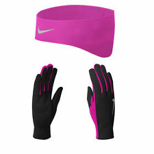 NWT!! Nike Dri-Fit Women's Running Headband/Glove Set (Large, Black/Vivid Pink)