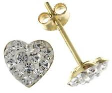 9CT YELLOW GOLD 9MM HEART WHITE CRYSTAL BALL STUD CZ EARRINGS PIERCED GIFT BOX