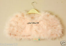 BNWT MONSOON GIRLS PEACH PINK FEATHER MARABOU CRYSTAL CAPE BOLERO 3-6 Yrs*DRESS