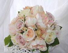 PRETTY VINTAGE WEDDING BOUQUET ARTIFICIAL SILK FLOWER PINK PEONY CREAM ROSE