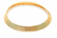 """$15,000 Signed BVLGARI Tubogas 18k Yellow Gold OMEGA Necklace 16"""" 98g WIDE!!!"""