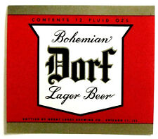 Great Lakes DORF BOHEMIAN LAGER BEER label IL 12 oz