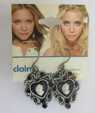 GD Mary Kate Ashley Black Cameo dangle Earrings CLAIRES FASHION JEWELRY