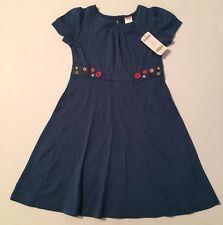 NWT Gymboree Lots of Dots Sz 7 Blue Button Trim Knit Dress