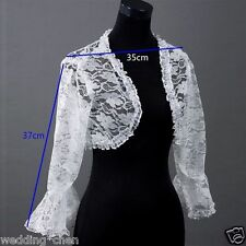 New White Bridal Long Lace Bolero Jacket Shawl Wraps Cape Pashmina Wedding Dress