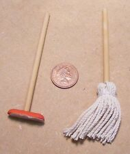 1:12 Scale Dolls House Miniature Brush Kitchen Cleaning Accessory Mop & Broom