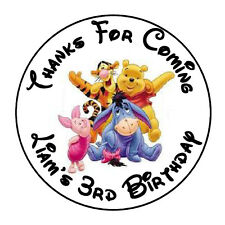 """24 PERSONALIZED WINNIE THE POOH BIRTHDAY PARTY FAVOR LABELS STICKERS 1.67"""""""