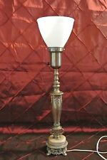 Vintage Metal Torchiere Lamp  Ornate with Diffuser Shade and Alabaster