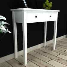 White Wooden Dressing Console Table with Two Drawers Living Dining Room Bedroom