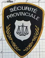 CANADA, SECURITE PROVINCIALE PATCH