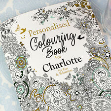 PERSONALISED Adult Colouring Book for Grown Ups - Name and Message - UK A4 Album