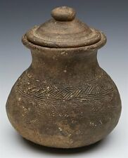 ARCHAIC SOUTH EAST ASIAN KHMER EARTHENWARE LIDDED JAR 9/10TH C.