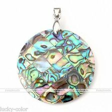 1pc Natural Abalone Shell MOP Round Bead Charms Pendant For Necklace Making DIY