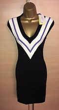 Exquisite Karen Millen Brand New Black Bandage Knit Stripe Plunge Dress UK8-10