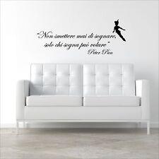 wall sticker frase peter pan solo chi sogna può volare adesivo bambini
