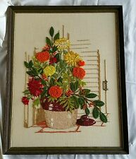Vintage Floral Crewel Embroidery Needlepoint Completed Framed 70s Wall Art