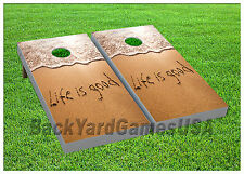 VINYL WRAPS Cornhole Boards DECALS Life is Good Bag Toss Game Stickers 709