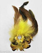 Flower & Feather Brooch Pin Rhinestone Gold Huge Large Bling Big Fashion Yellow