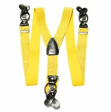 New in box Men's Suspender metallic gold elastic Braces clips buttons
